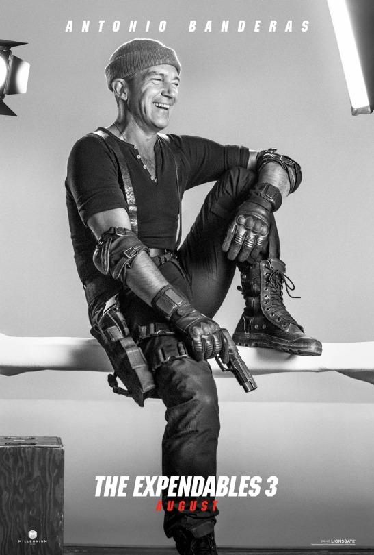 Antonio Banderas en cartel promocional de Los Mercenarios 3