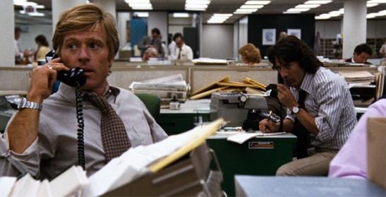 Escena de 'Todos los hombres del presidente' con Robert Redford y Dustin Hoffman.